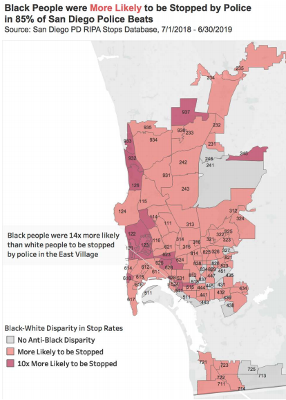 Black-White Disparity in SDPD stops aby beat